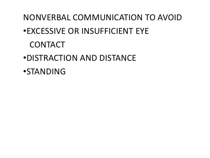 NONVERBAL COMMUNICATION TO AVOID•EXCESSIVE OR INSUFFICIENT EYE  CONTACT•DISTRACTION AND DISTANCE•STANDING