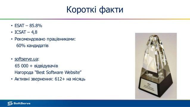Короткі факти • ESAT – 85.8% • ICSAT – 4,8 • Рекомендовано працівниками: 60% кандидатів • softserve.ua: 65 000 + відвідува...