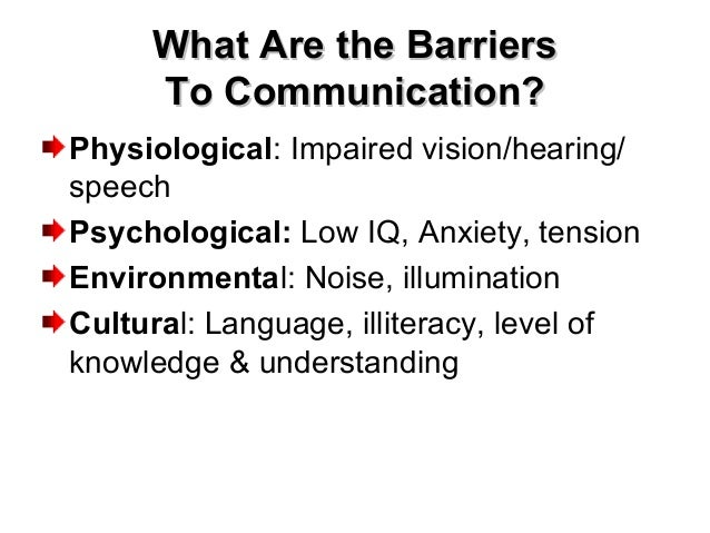 What Are the BarriersWhat Are the Barriers To Communication?To Communication? Physiological: Impaired vision/hearing/ spee...