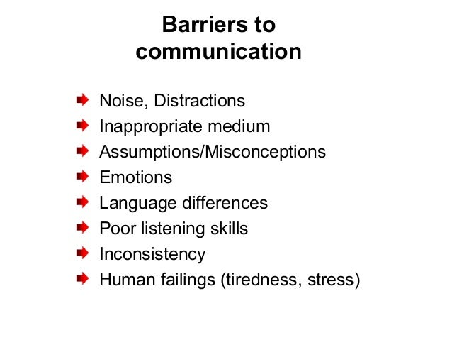 Barriers to communication Noise, Distractions Inappropriate medium Assumptions/Misconceptions Emotions Language difference...