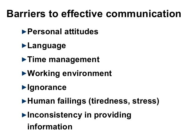 Barriers to effective communication Personal attitudes Language Time management Working environment Ignorance Human failin...