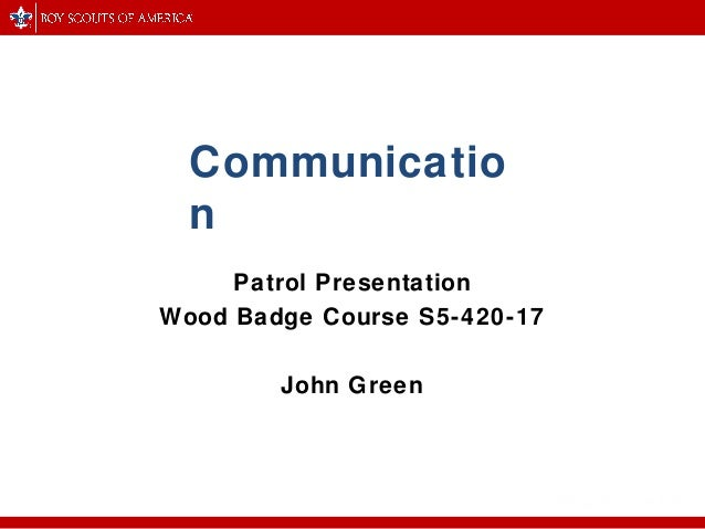 wood badge communication