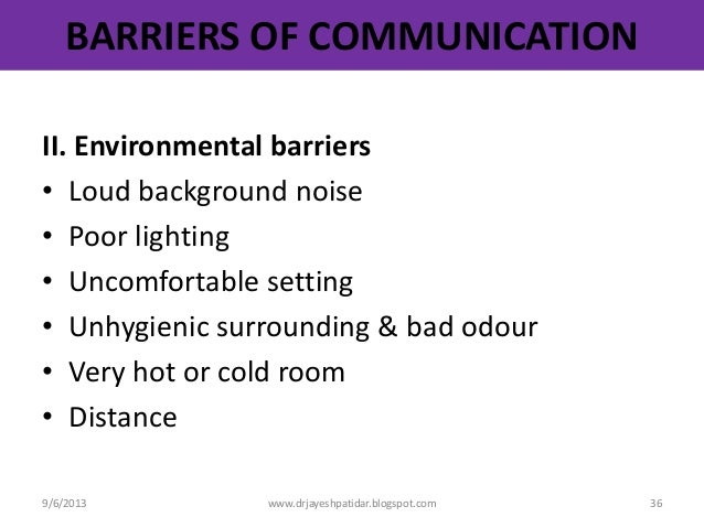 environmental barriers to communication in health and social care