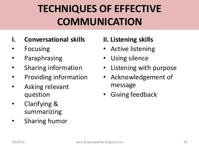 Paraphrasing communication techniques