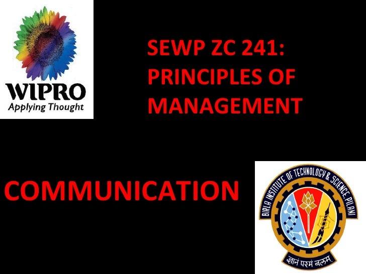 SEWP ZC 241: PRINCIPLES OF MANAGEMENT COMMUNICATION