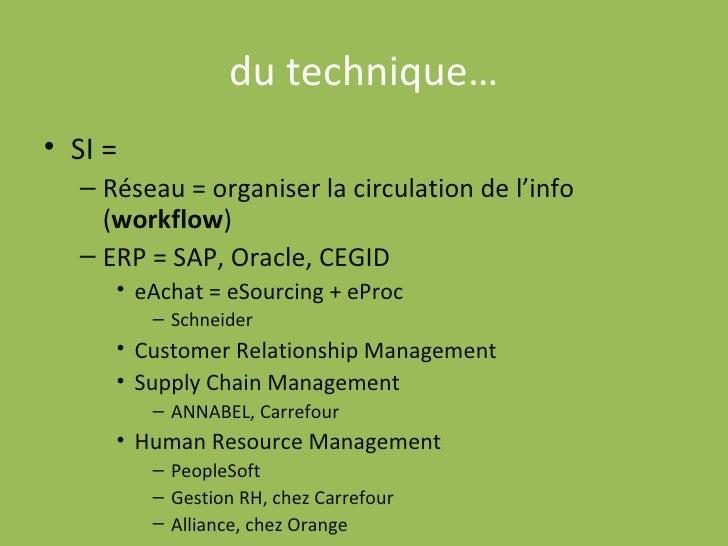 du technique… <ul><li>SI =  </li></ul><ul><ul><li>Réseau = organiser la circulation de l'info ( workflow ) </li></ul></ul>...