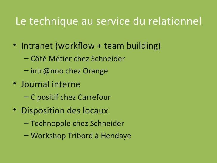 Le technique au service du relationnel <ul><li>Intranet (workflow + team building) </li></ul><ul><ul><li>Côté Métier chez ...