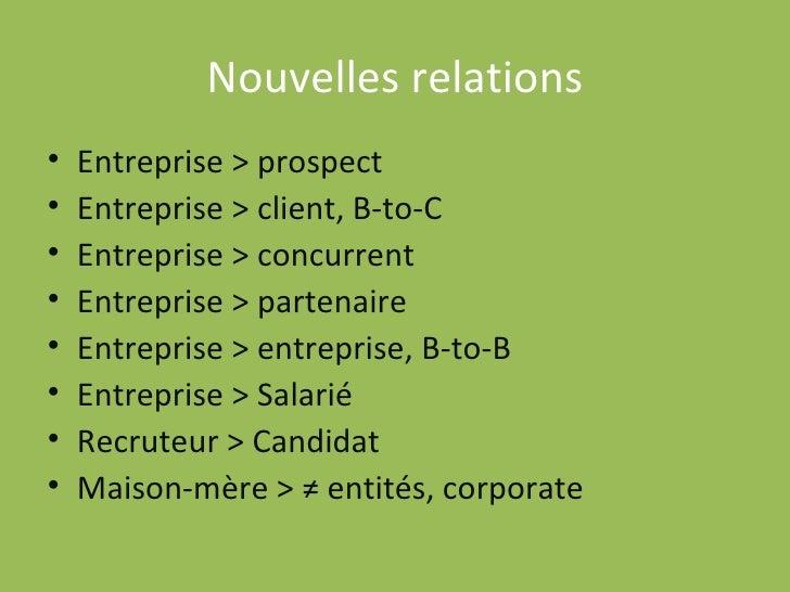 Nouvelles relations <ul><li>Entreprise > prospect </li></ul><ul><li>Entreprise > client, B-to-C </li></ul><ul><li>Entrepri...