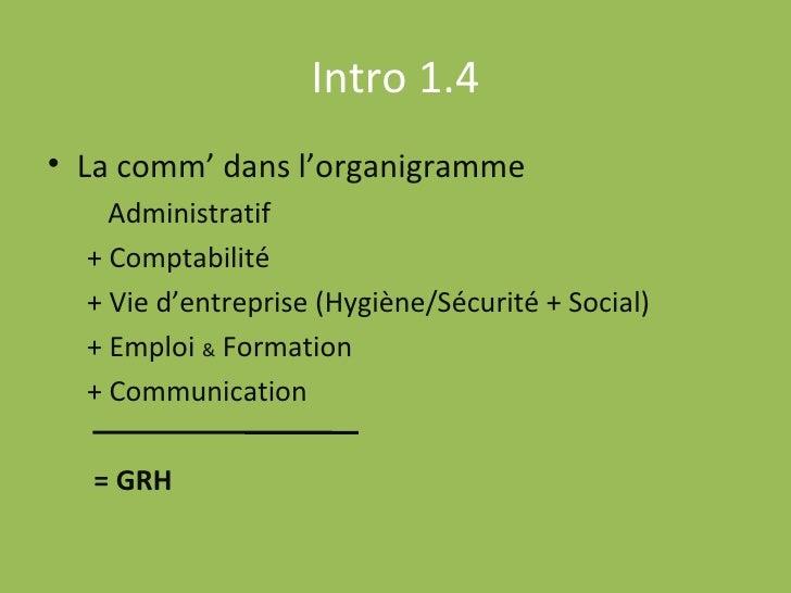 Intro 1.4 <ul><li>La comm' dans l'organigramme </li></ul><ul><ul><li>Administratif </li></ul></ul><ul><ul><li>+ Comptabili...