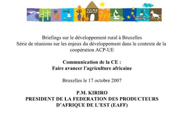 """Communication de la CE :""""Faire avancer l'agriculture africaine"""""""