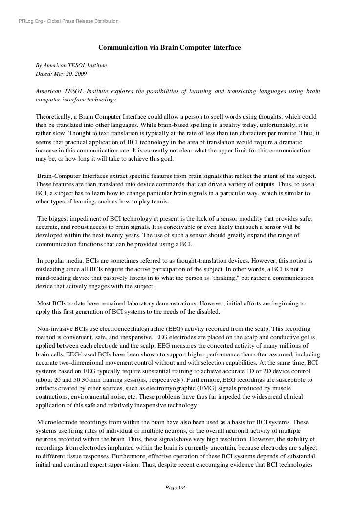 PRLog.Org - Global Press Release Distribution                                   Communication via Brain Computer Interface...