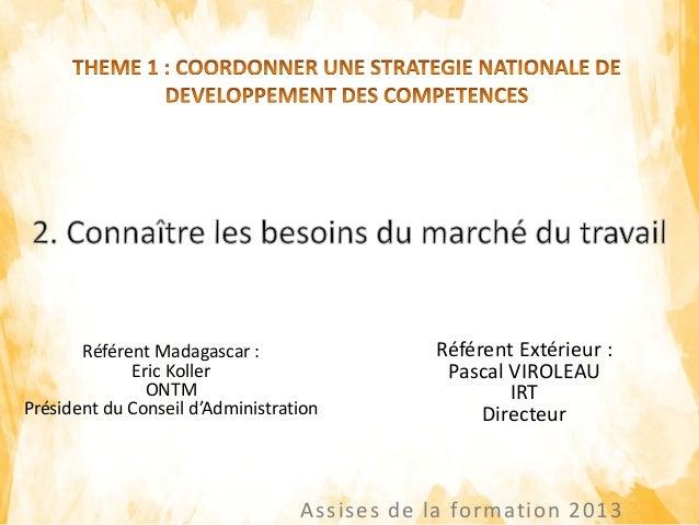 Assises de la formation 2013 Référent Madagascar : Eric Koller ONTM Président du Conseil d'Administration Référent Extérie...
