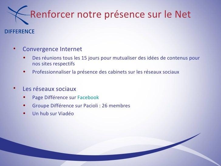 <ul><ul><li>Convergence Internet </li></ul></ul><ul><ul><ul><li>Des réunions tous les 15 jours pour mutualiser des idées d...