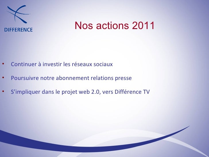 Nos actions 2011 <ul><ul><li>Continuer à investir les réseaux sociaux </li></ul></ul><ul><ul><li>Poursuivre notre abonneme...