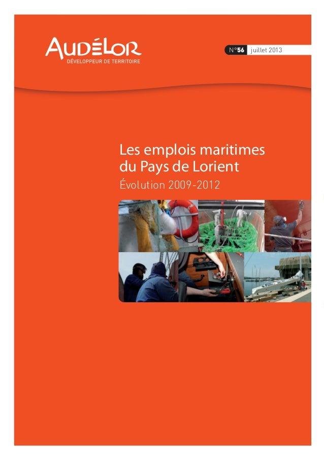 Les emplois maritimes du Pays de Lorient Évolution 2009-2012 N°56 juillet 2013