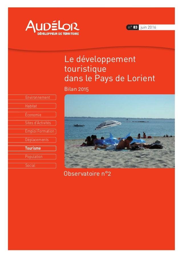 Environnement Économie Habitat Sites d'Activités Emploi Formation Déplacements Tourisme Population Social n° 83 juin 2016 ...