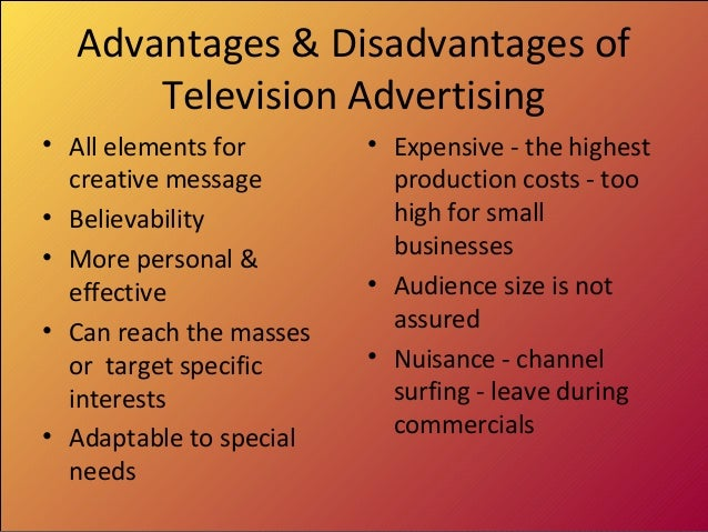 Advantages and disadvantages of tv commercials