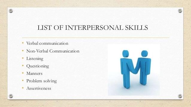 LIST OF INTERPERSONAL ...