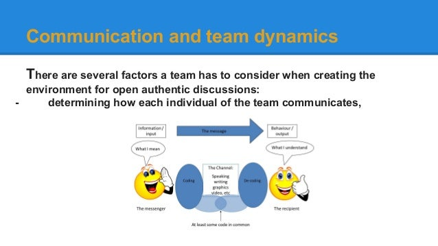 communication team dynamics essay How group dynamics affect  a person or team charged with taking the less popular side of an issue can help  a forum for direct communication with senior.