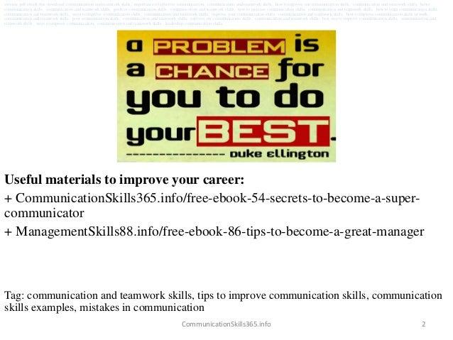 communication and teamwork skills pdf free download