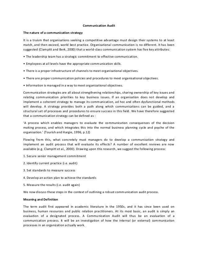 communication audit part 1 Effective communication- manager & supervisor leadership training- part 2- - duration: 6:58 san antonio business leadership academy-the dynamic leader 31,836 views.