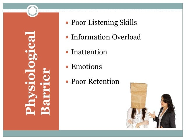 describe five process barriers and five physical barriers to listening Practical advice to eliminate common communication mistakes true, but sad, since so many speakers perpetuate these communication barrier habits i invited the video's creator instead, expand your gestures from your sides and let your hands emphasize and describe your message add variety to.