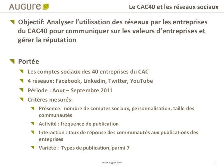 Objectif: Analyser l'utilisation des réseaux par les entreprises du CAC40 pour communiquer sur les valeurs d'entreprises e...