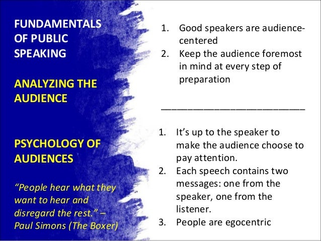 an analysis of the various aspects of public speech delivery Four elements of a speech need to be considered in order to objectively analyze  the  the reality is that what is said, is often viewed differently by different  audiences  the physical aspect of delivery includes our use of gestures, our  use of.