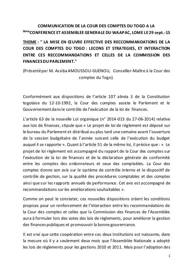 1 COMMUNICATION DE LA COUR DES COMPTES DU TOGO A LA 6ème CONFERENCEETASSEMBLEEGENERALEDUWAAPAC, LOME LE29 sept.-15 THEME :...
