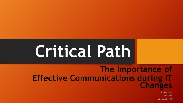 Critical Path The Importance of Effective Communications during IT Changes Dr. Jim Bohn Pro/Axios Minneapolis, MN