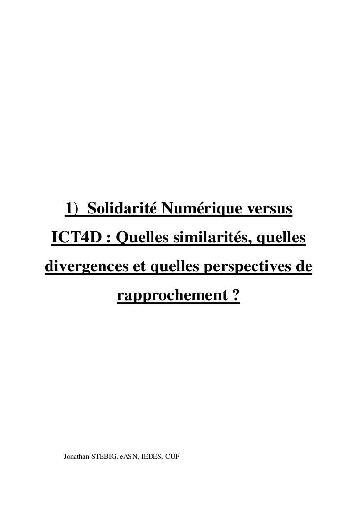 1) Solidarité Numérique versusICT4D : Quelles similarités, quellesdivergences et quelles perspectives de                 r...