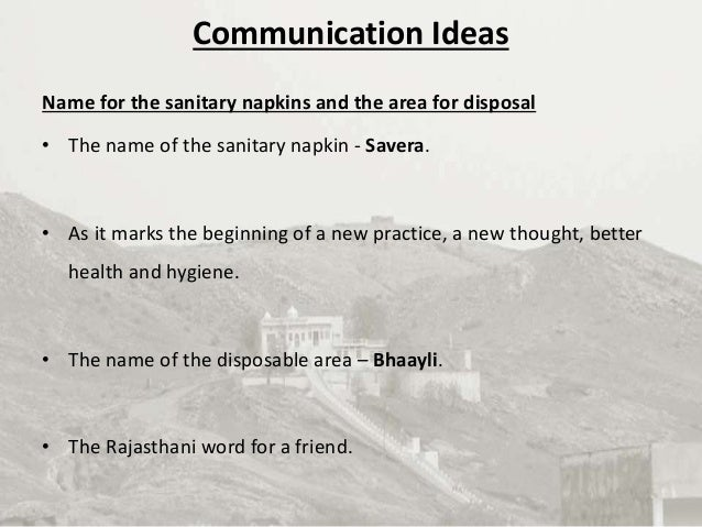 Communication Strategy - Sanitary Napkin Usage and Disposal