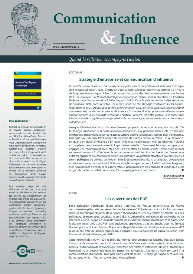 Communication                                       	 	 	 	 & Influence                                       N°36 - Septe...