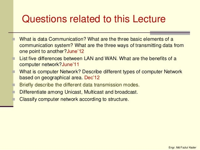 The several different methods used to achieve communication between computers
