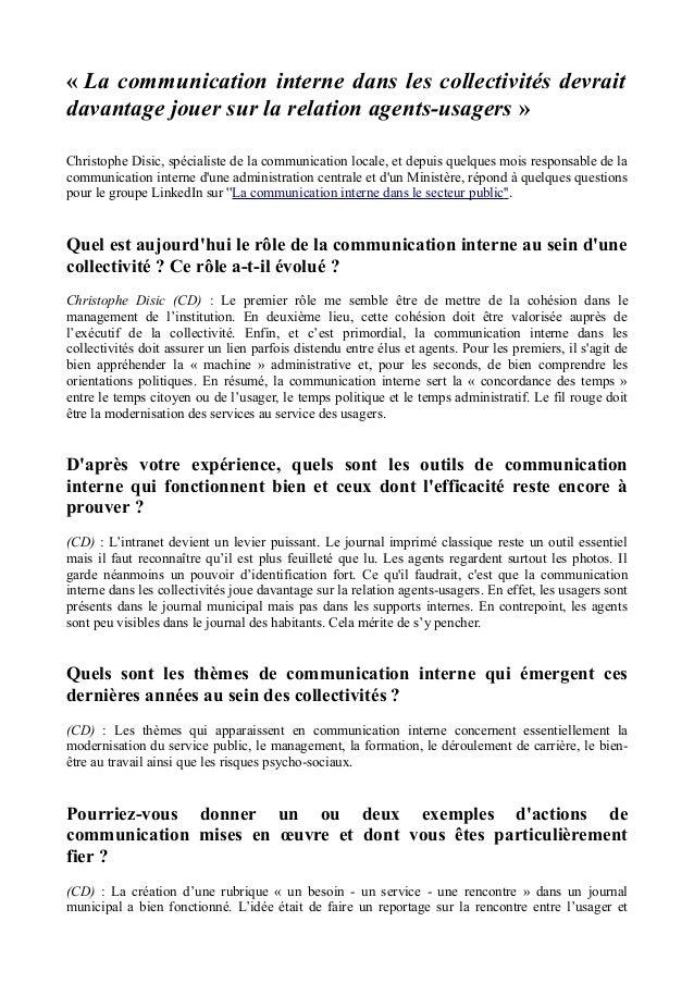 « La communication interne dans les collectivités devrait davantage jouer sur la relation agents-usagers » Christophe Disi...