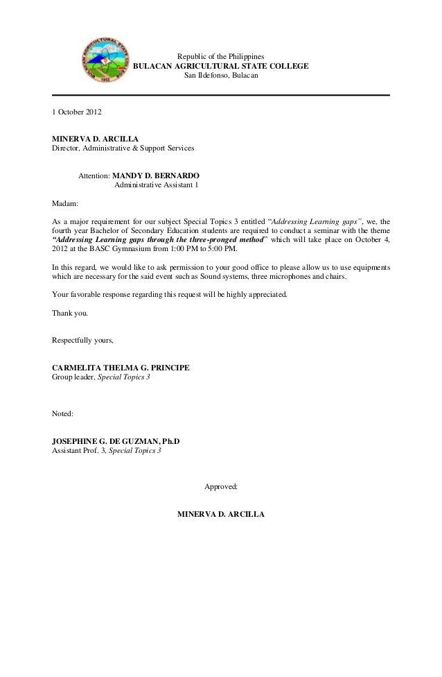 Communication letter for venue republic of the philippines bulacan agricultural spiritdancerdesigns Images