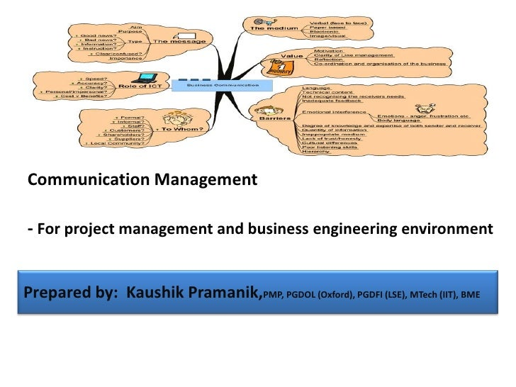 Communication Management- For project management and business engineering environmentPrepared by: Kaushik Pramanik,PMP, PG...