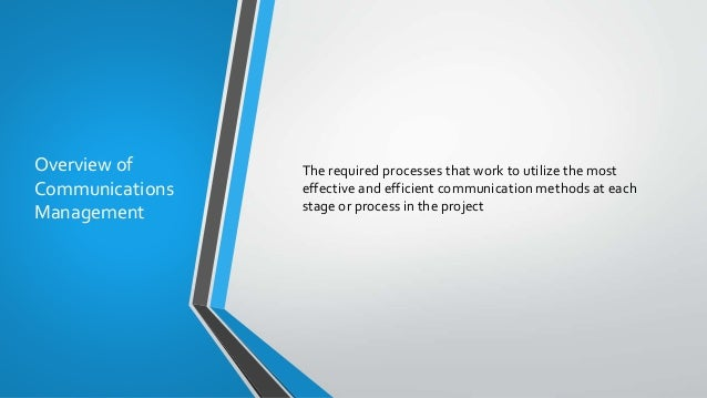 Overview of Communications Management The required processes that work to utilize the most effective and efficient communi...