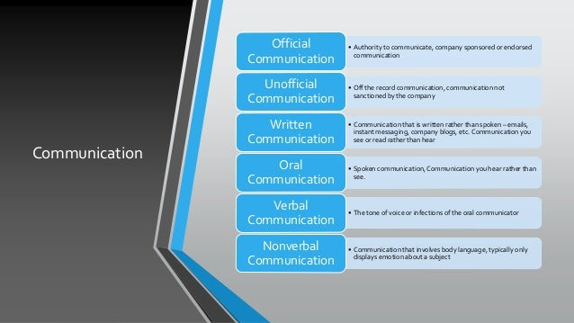 Communication • Authority to communicate, company sponsored or endorsed communication Official Communication • Off the rec...