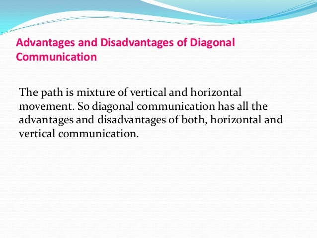 horizontal communication advantages and disadvantages Lateral communication is the exchange, imparting or sharing of information,  ideas or feelings between people within a community, peer groups, departments  or.