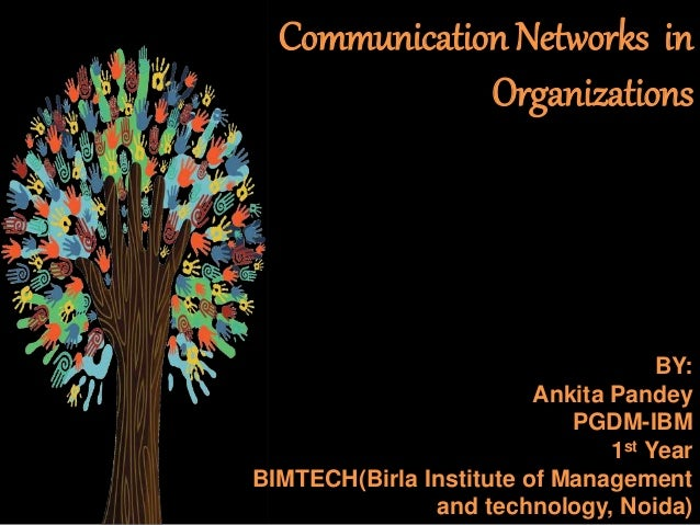 Communication Networks in Organizations BY: Ankita Pandey PGDM-IBM 1st Year BIMTECH(Birla Institute of Management and tech...