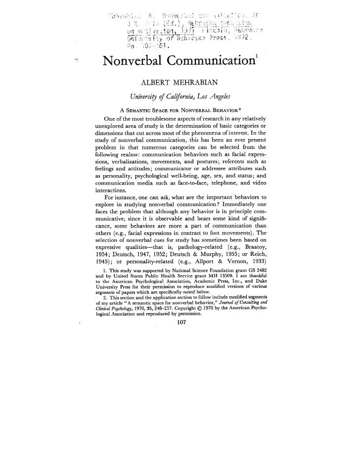 Nonverbal communication essays