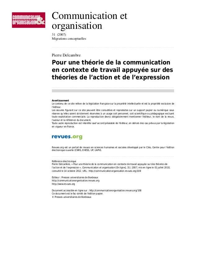 Communication et organisation 31 (2007) Migrations conceptuelles ...........................................................