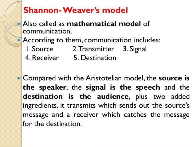 shannon and weaver model of communication pdf
