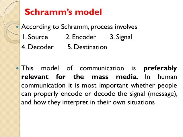 osgood schramm communication model The osgood and schramm model shows that there is not a defined source or receiver in a conversation instead, they believed that communication is an ongoing process in which the participants are trying to create meaning by decoding and encoding messages.