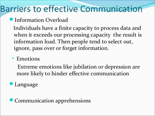 factors that hinder effective communication Environmental factors can be very important in a any factors which affect the senses can either support or hinder communication counseling.