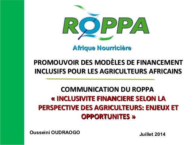 PROMOUVOIR DES MODÈLES DE FINANCEMENTPROMOUVOIR DES MODÈLES DE FINANCEMENT INCLUSIFS POUR LES AGRICULTEURS AFRICAINSINCLUS...