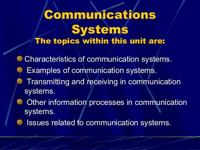 Graham Betts Communications Systems The topics within this unit are: Characteristics of communication systems. Examples of...