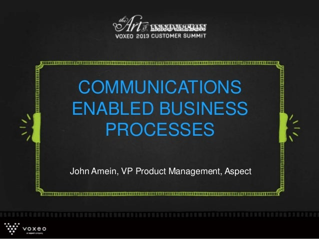 COMMUNICATIONS ENABLED BUSINESS PROCESSES John Amein, VP Product Management, Aspect