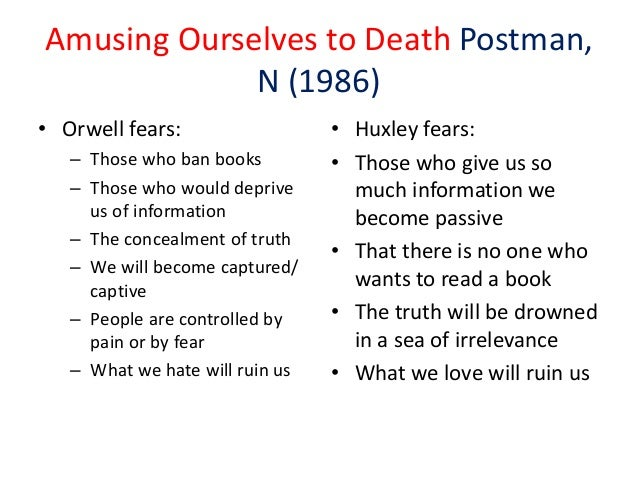 postman amusing ourselves to death essay His most famous (and controversial) was amusing ourselves to death,  he also  wrote essays and lectured about lots of other things that you can find here if.